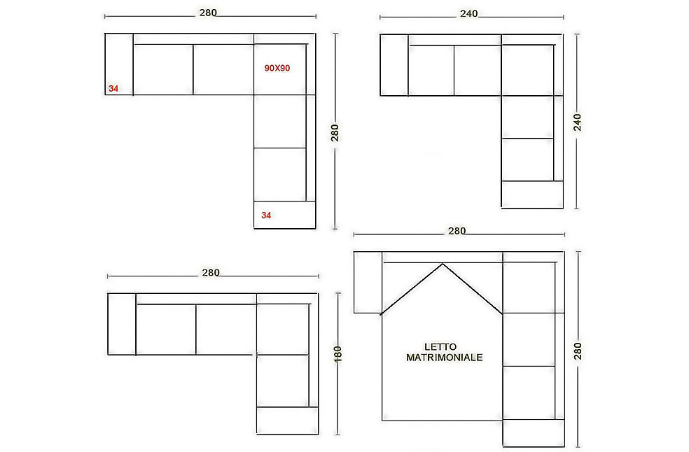 Divano angolare misure minime idee per la casa - Divano letto piccole dimensioni ...