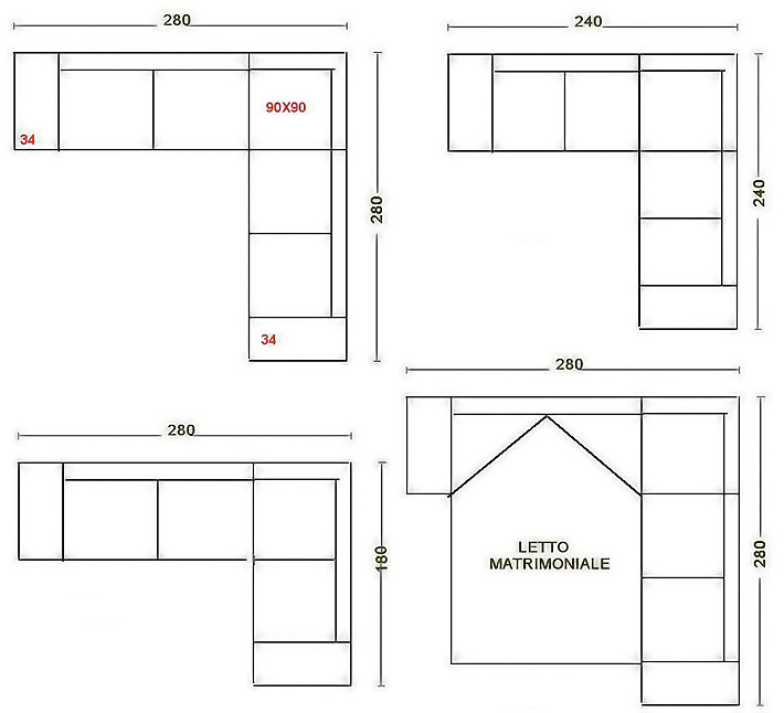 Letto ad angolo misure design casa creativa e mobili for Divani ad angolo misure