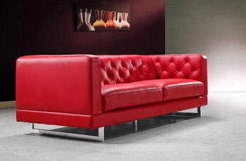 Divano 3 posti in pelle rosso modello Cartier