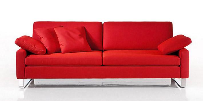 Divano 3 posti in pelle rosso modello Romina