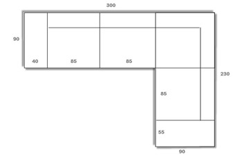 Divano angolare modello Santamaria: misure