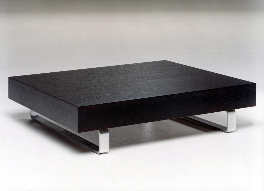 Tavolini su misura in legno e acciaio per divani in pelle - Tavolino divano ...